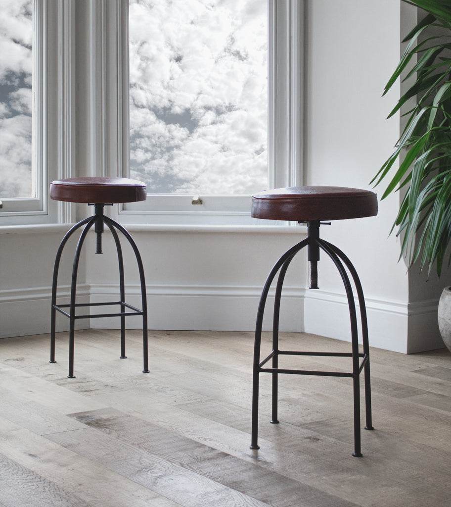Leather padded bar stool