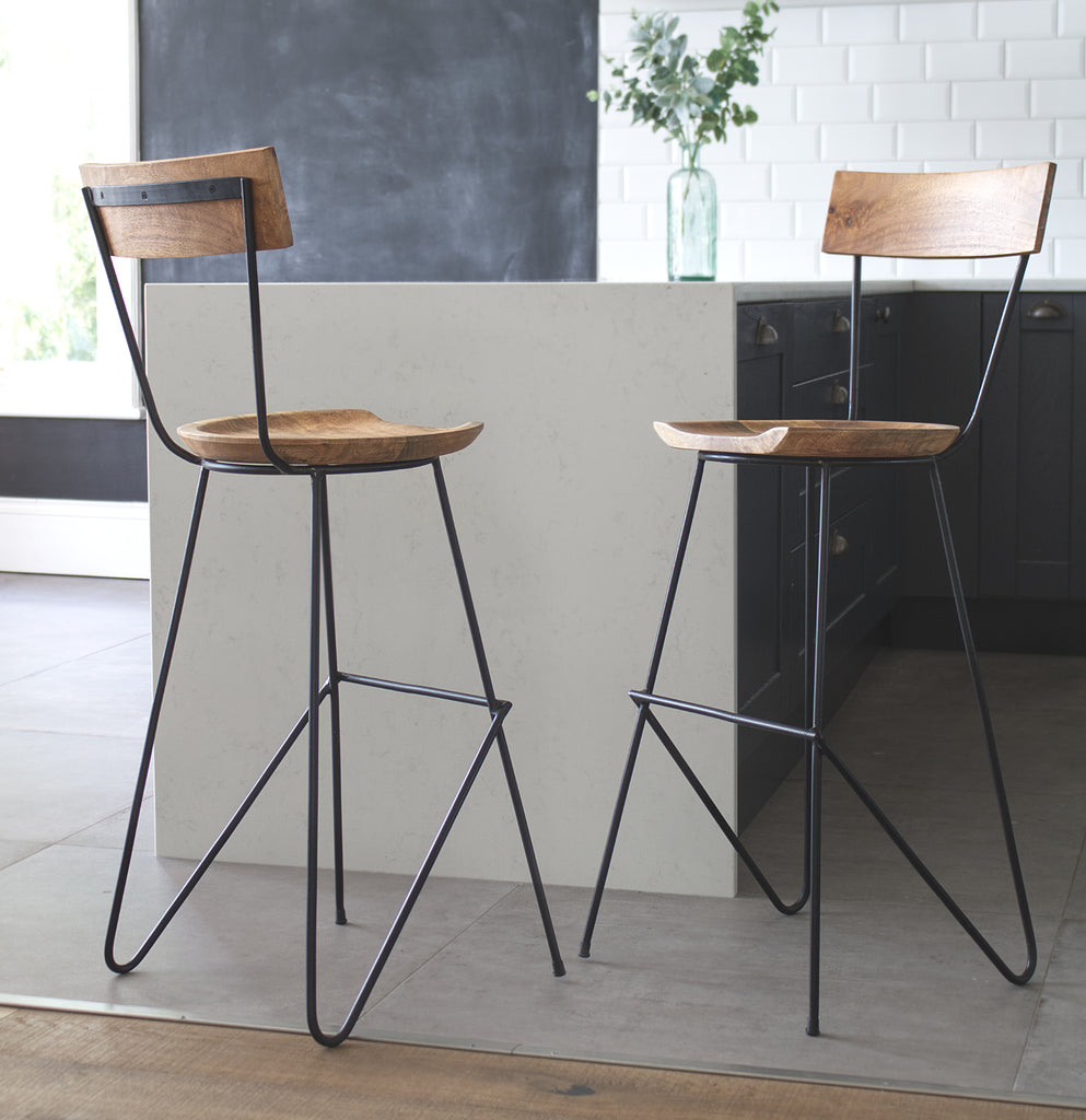 Rustic bar stool with backrest
