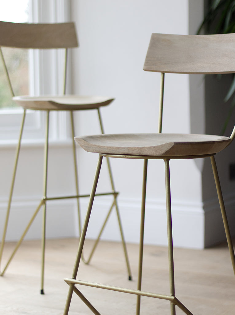 Gold and brass bar stools