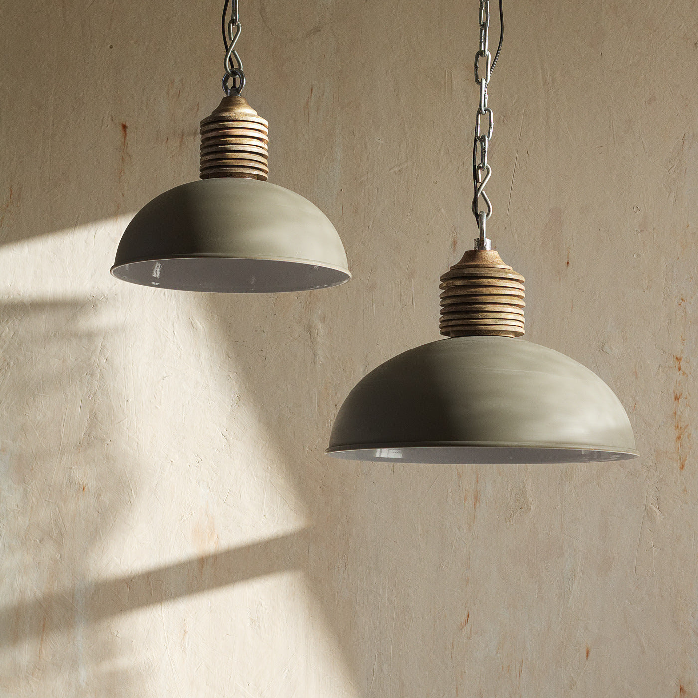 Industrial Lighting, Metal Dome Pendant, Grunge home decor