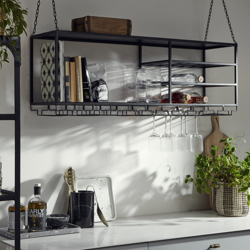 Industrial hanging shelf