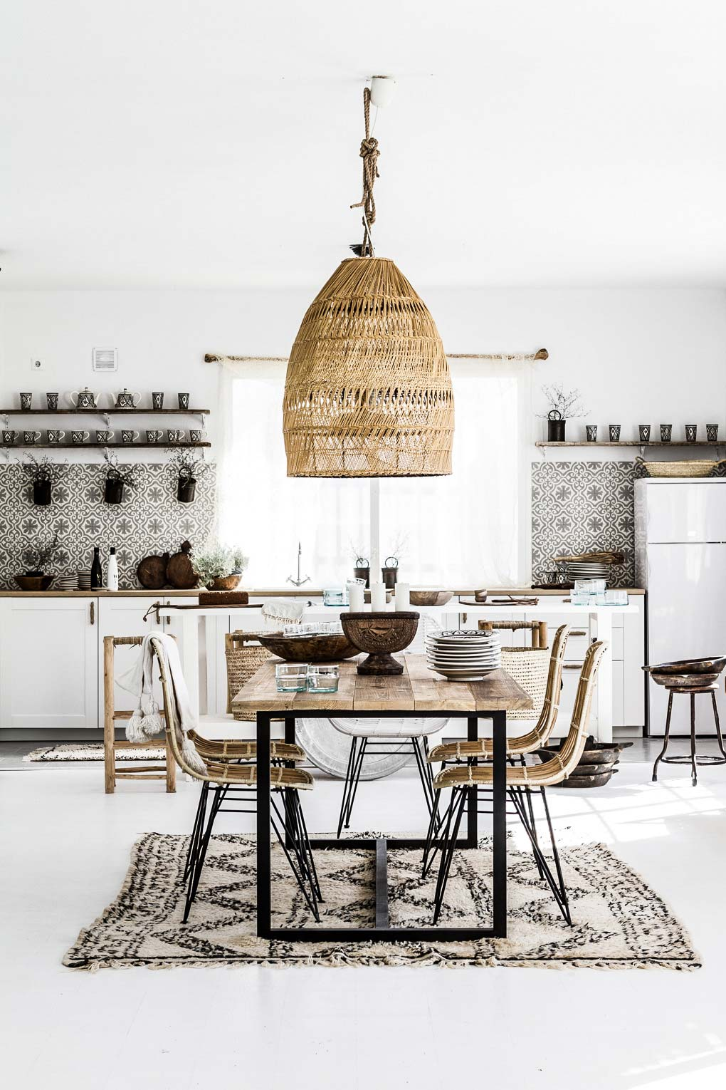 Moroccan style pendant light in kitchen