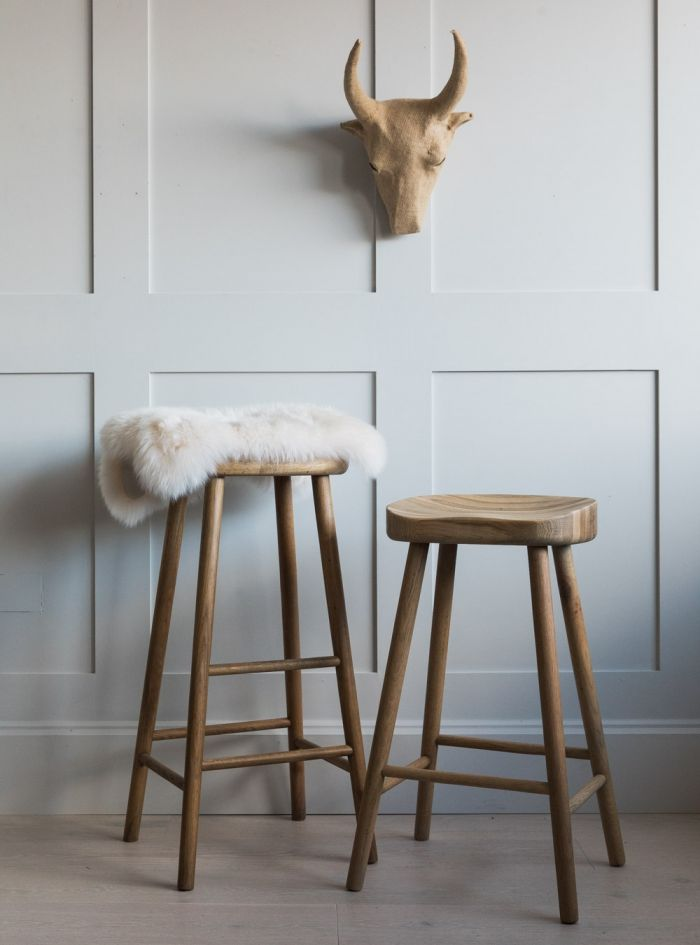 Rustic wooden bar stool