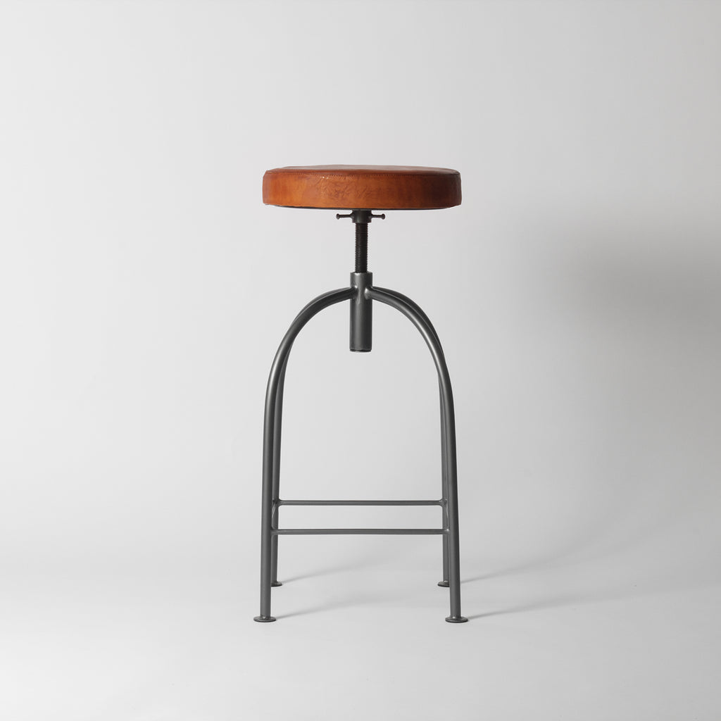 Tan leather bar stool