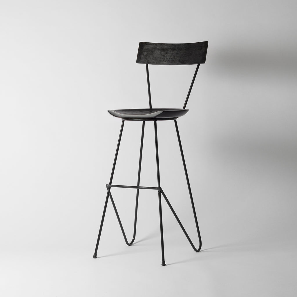 Black Bar Stool With Backrest