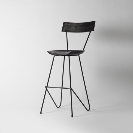 Black Counter Stool with Backrest, 65cm