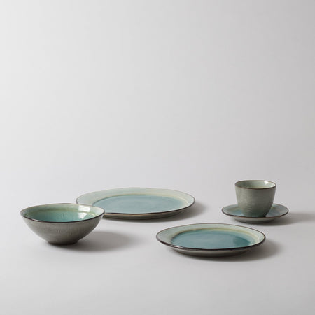 Scandinavian tableware set, aqua