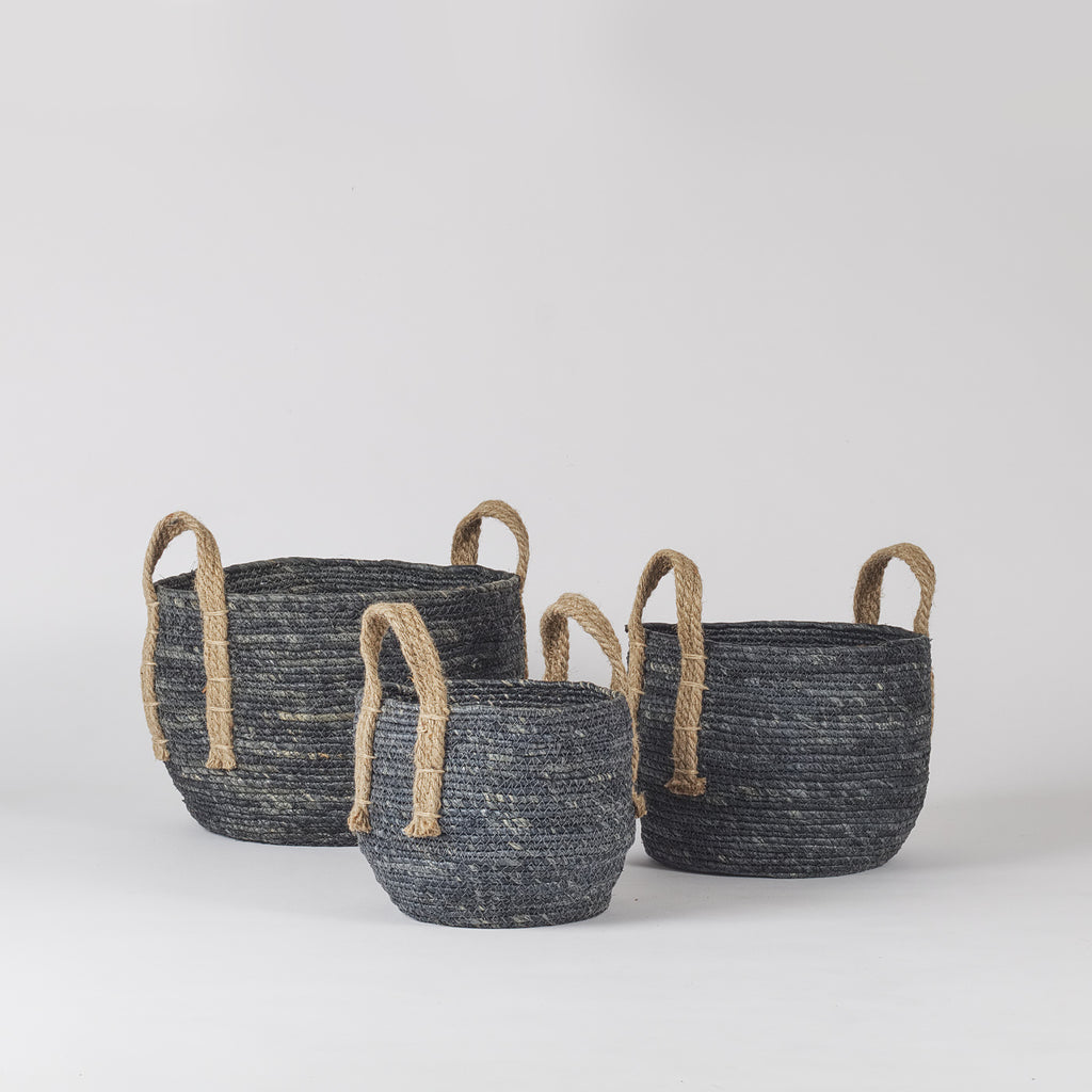Agonda Jute Plant Basket, Dusty Blue, Set of 3