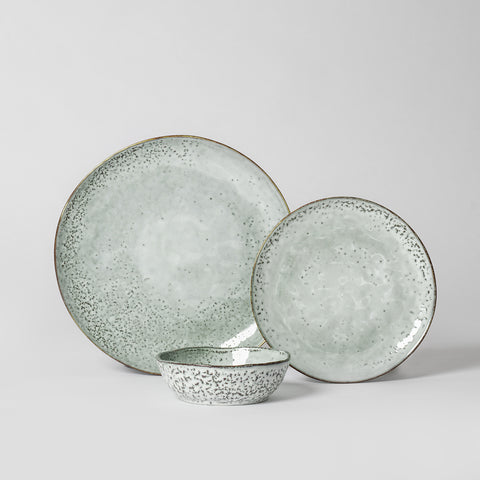 Blue Grey Speckled Dinnerware Set