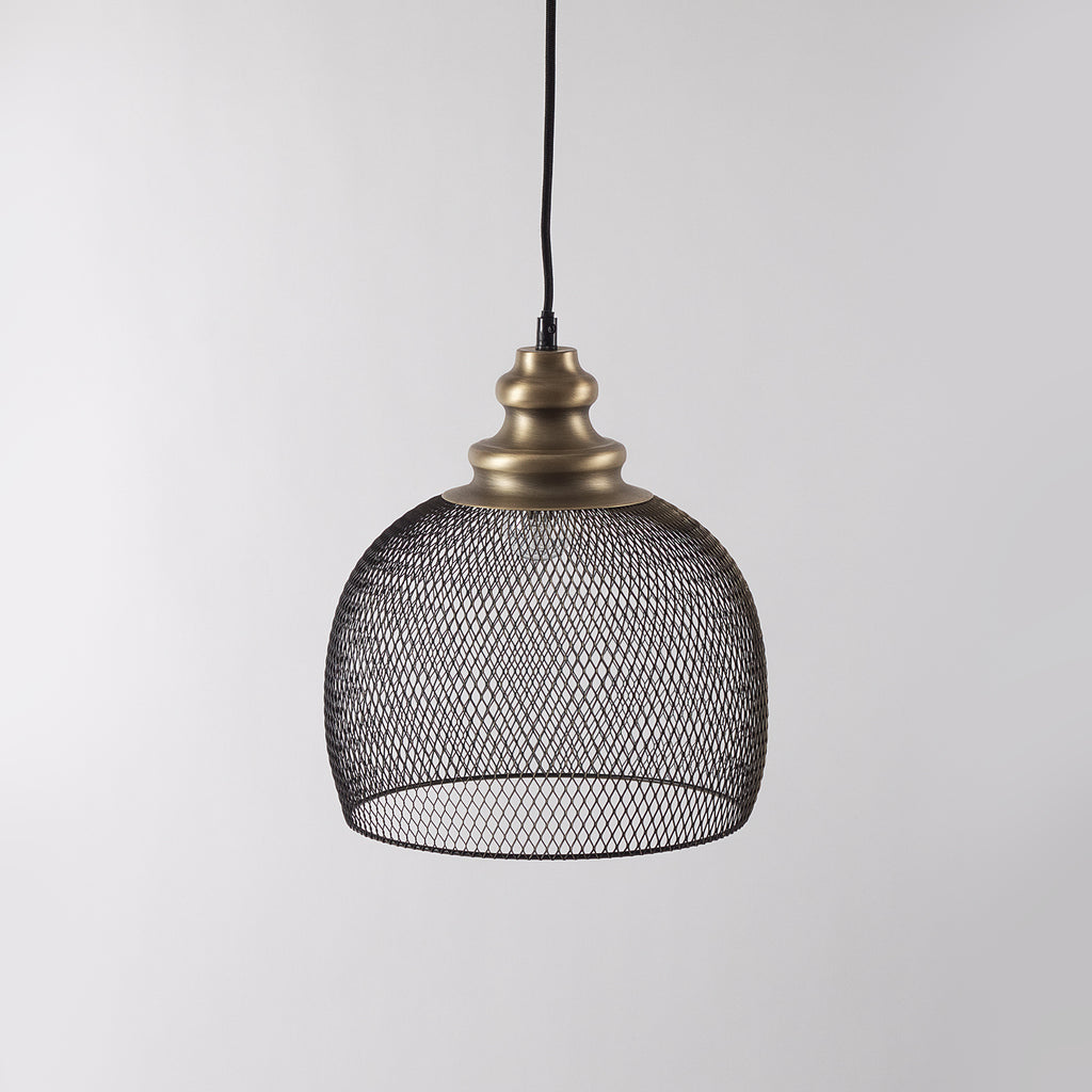 Black Mesh Dome Pendant Light, Bronze Top