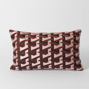 Burgundy Red Geometric Cushion