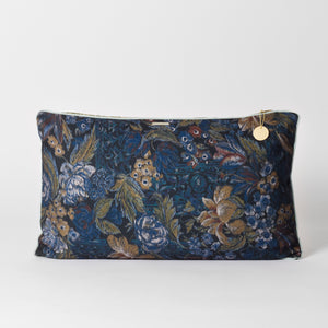 Retro blue patterned cushion