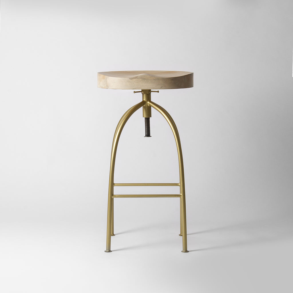Louis Gold Adjustable Bar Stool Light Wood