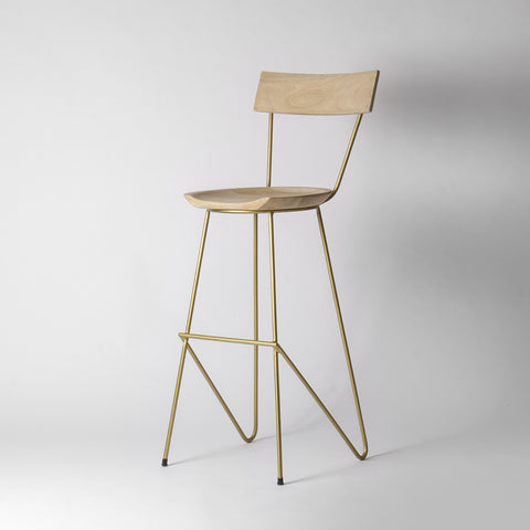 Gold Wooden Bar Stool