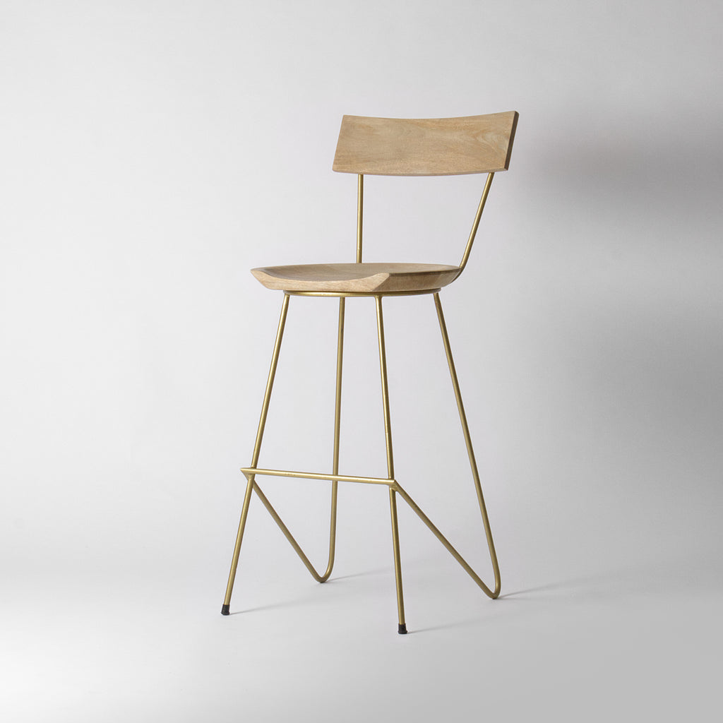 Gold short bar stool