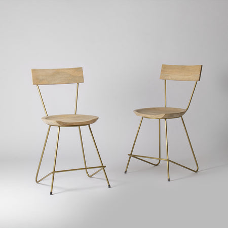 Stoker Gold Dining Chair, Light Wood