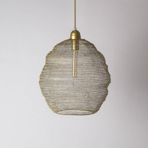 Gold wire pendant light