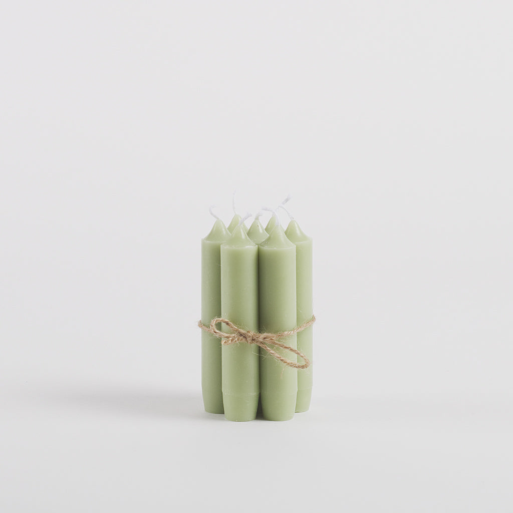 Dinner Candles, Pack of 7, Olive Green