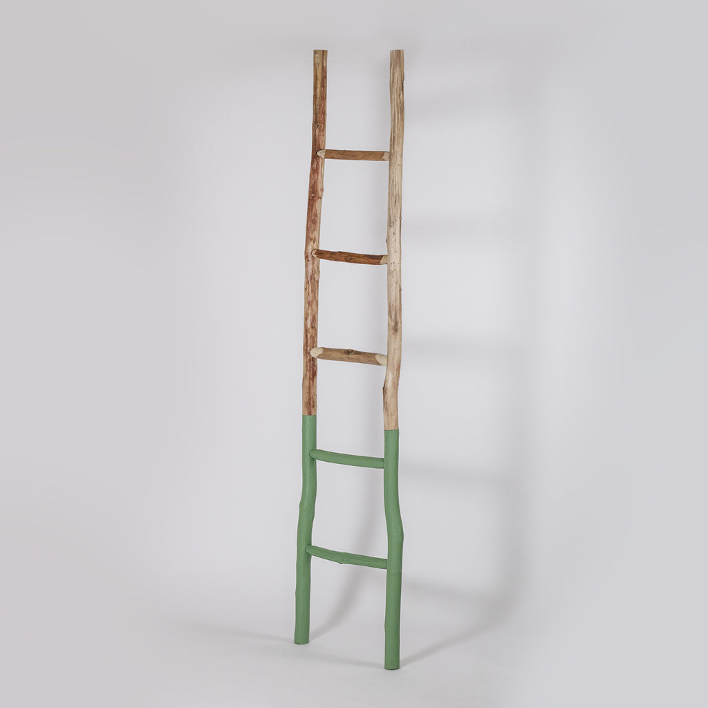 Hand Carved Wooden Towel Ladder, Green