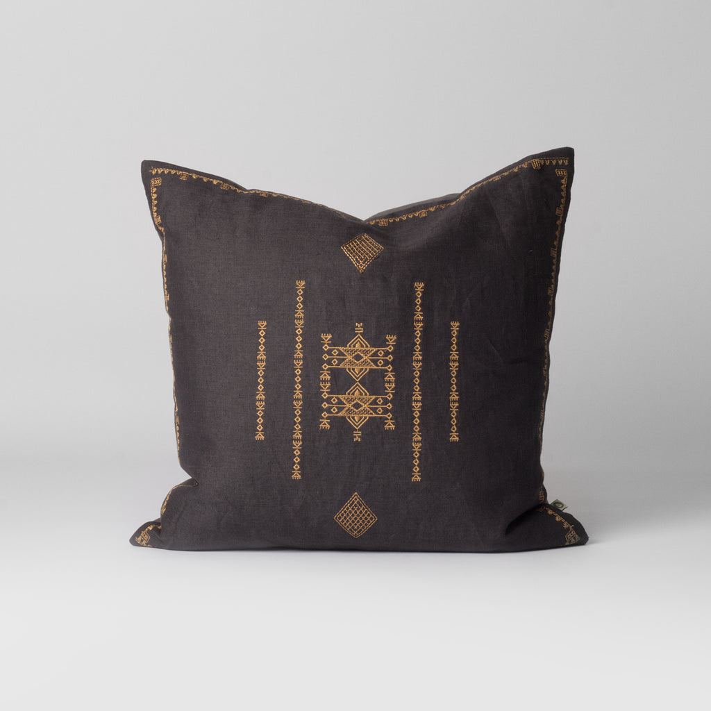 Dark grey tribal cushion