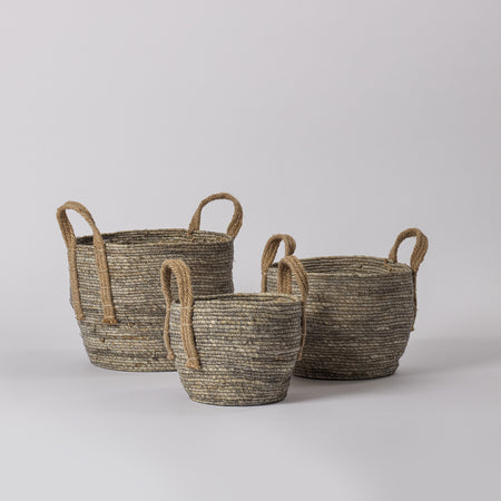 Grey Jute Basket, Set of 3