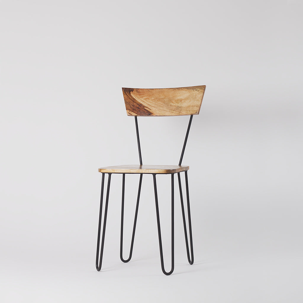 Hairpin Metal and Wood Dining Chair, Black