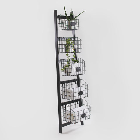 Metal Ladder Shelf, Black