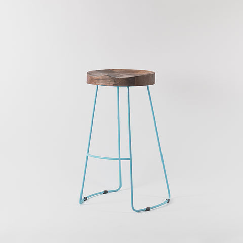 Arlo Wood and Metal Bar Stool, Sky Blue