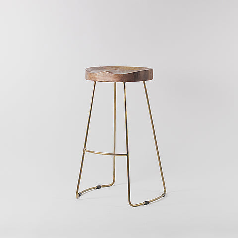 Metal Frame Bar Stool, Gold