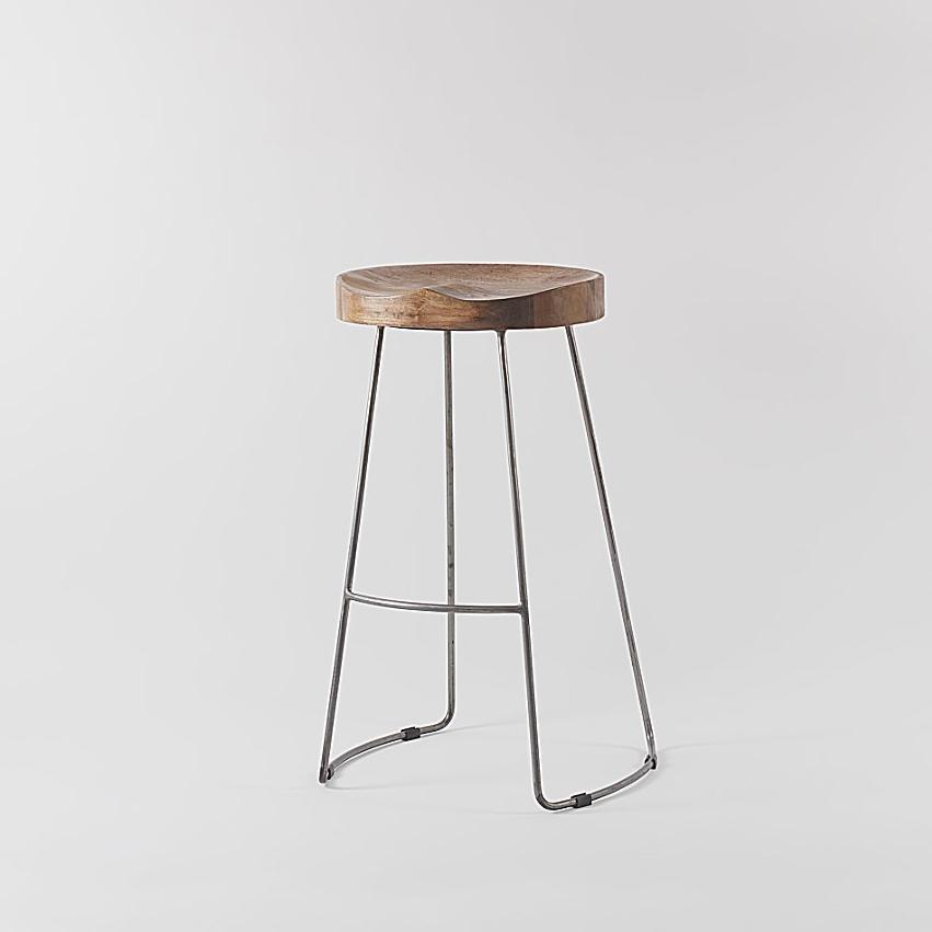 Arlo Wood And Metal Bar Stool Raw Vaunt Design