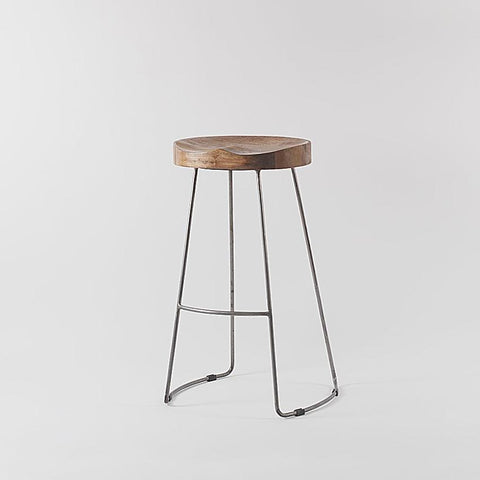 Arlo Wood and Metal Frame Barstool
