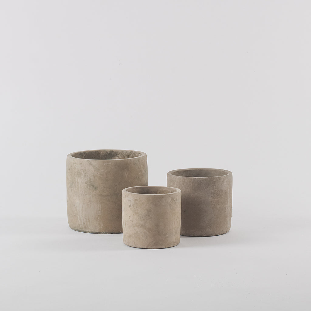 Ecru Concrete Planters, Set of 3
