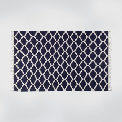 Maha Navy Blue Geometric Rug