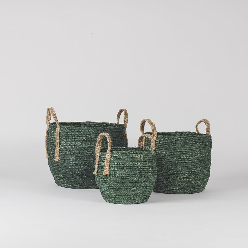 Agonda Olive Green Plant Baskets, Set of 3