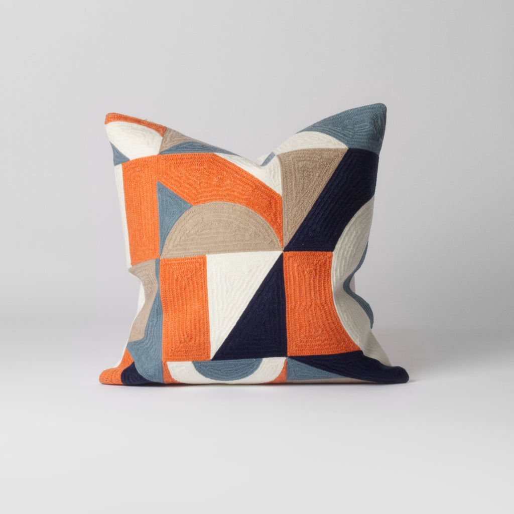unusual orange geometric cushion