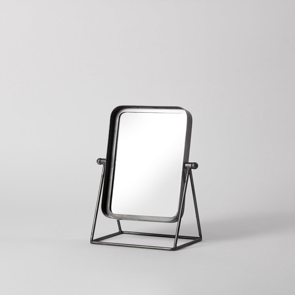 Small metal table mirror