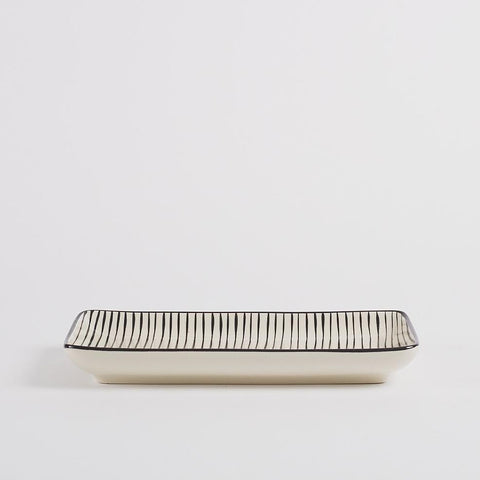 Stockholm Stoneware Serving Plate, Striped