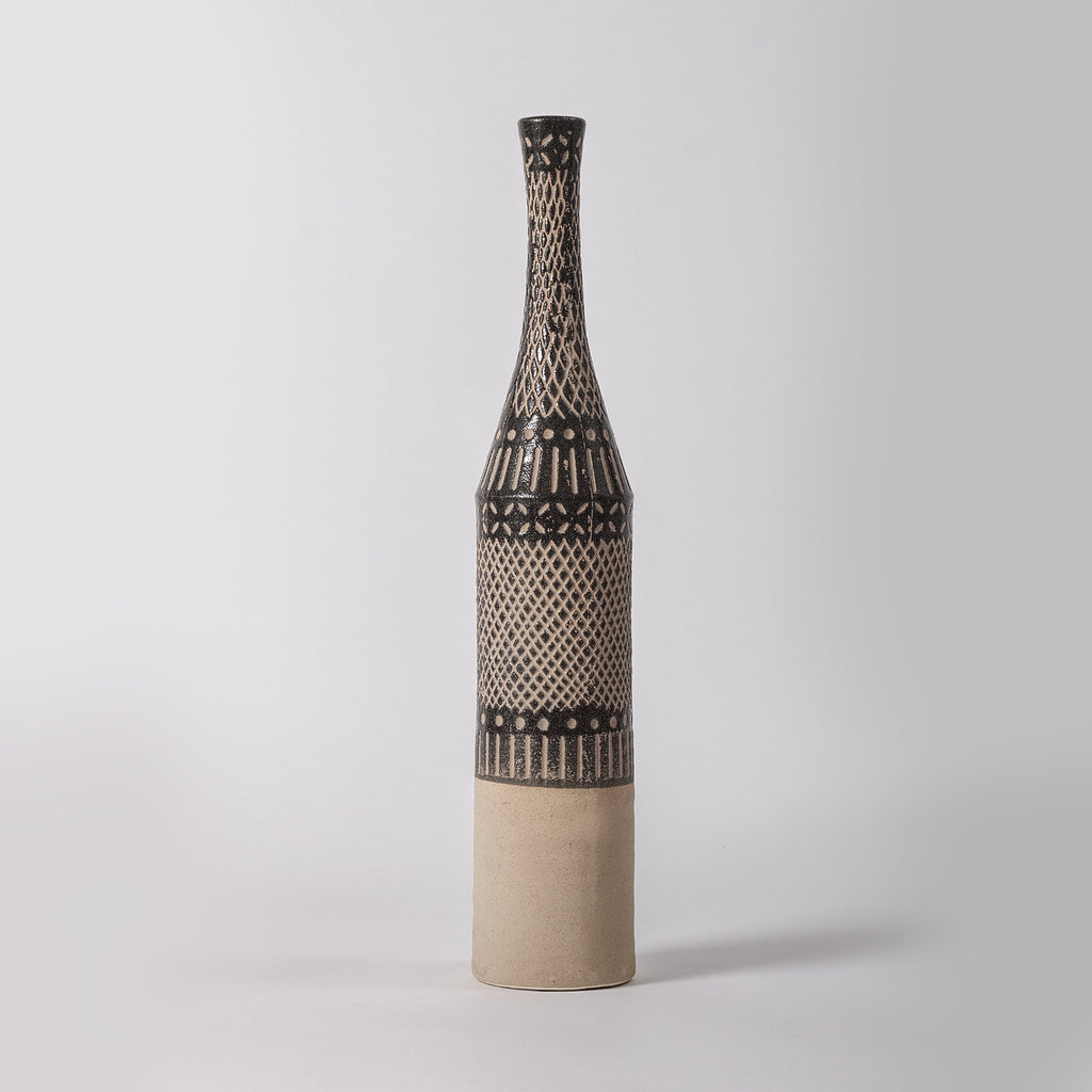 Tall Tribal Vase, Dark Grey