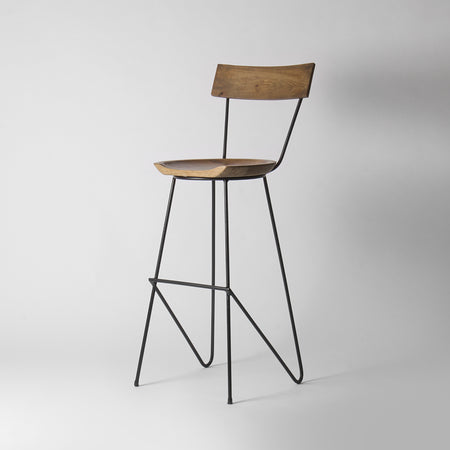 Wood and Metal Bar Stool With Backrest