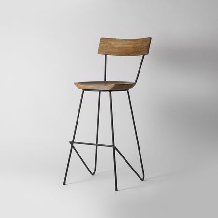 Industrial Counter Stool with Backrest