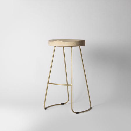 Wooden Gold Bar Stool