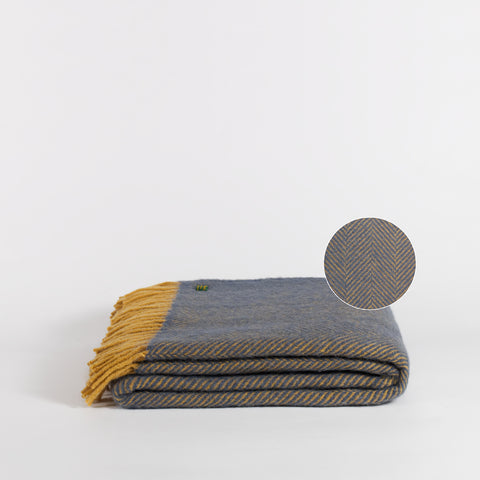 Forje Wool Throw, Navy and Mustard