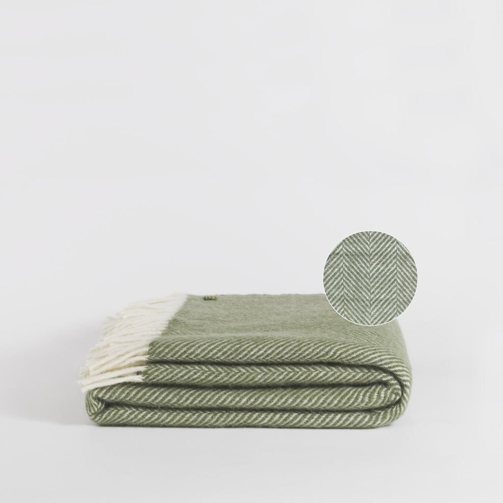 Forje Wool Throw, Olive Green