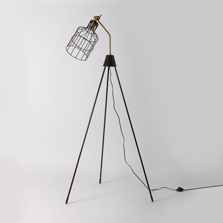 Metal Tripod Floor Lamp, Black and Bronze, 166cm