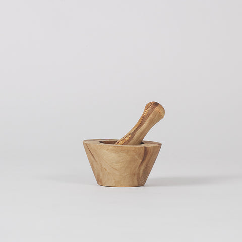 Khaki Olive Wood Pestle and Mortar