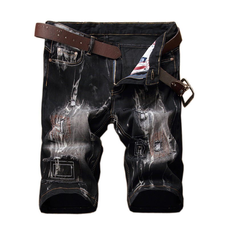 Men's Retro Ripped and Printed Pants
