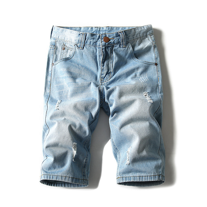 Men's Washed Denim Shorts Rip Details
