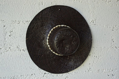 Beach Hat Round With Shell Black
