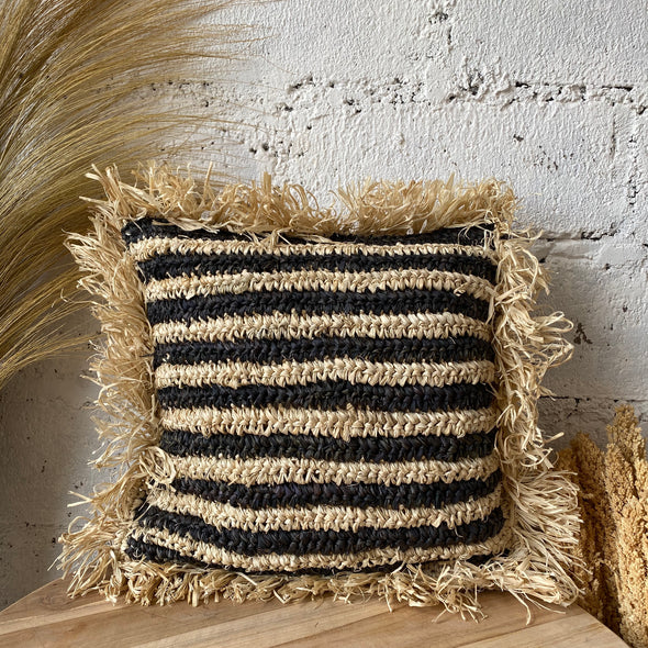 CUSHION COVER RAFFIA MIX