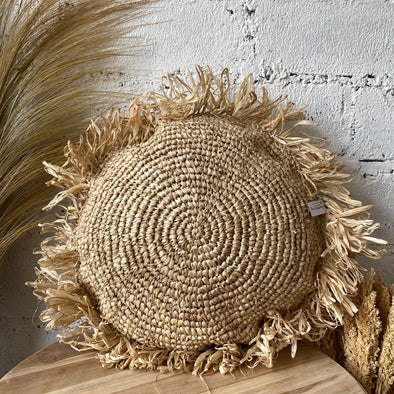 ROUND CUSHION COVER RAFFIA NATURAL